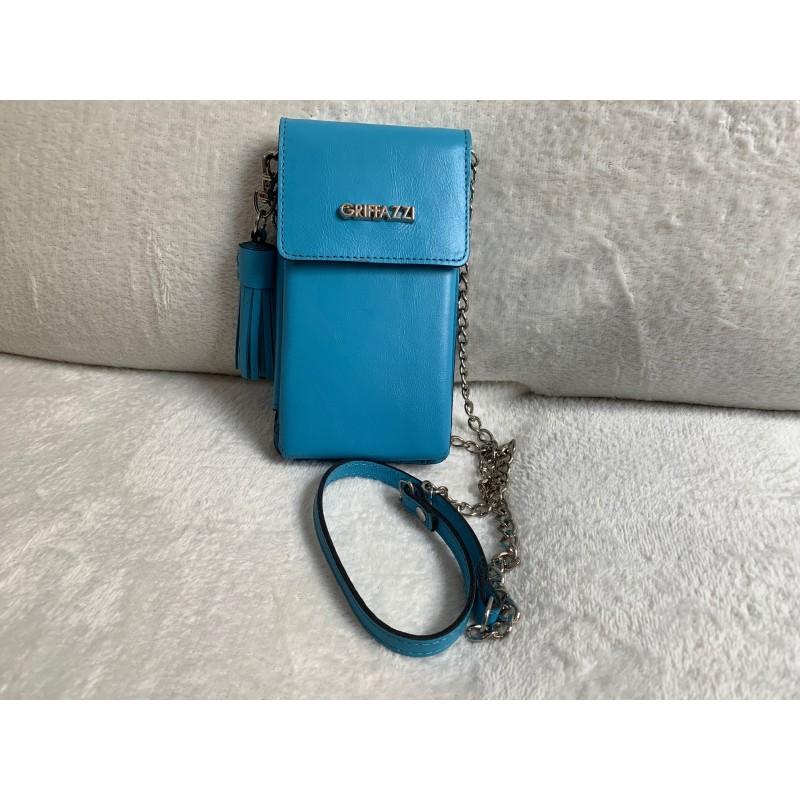 34dc9f9221 Bolsa Azul Porta Celular em Couro Legítimo com Alça de Metal e Barbicacho  Marca Griffazzi
