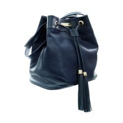 Bolsa Tipo Saco Azul Couro...