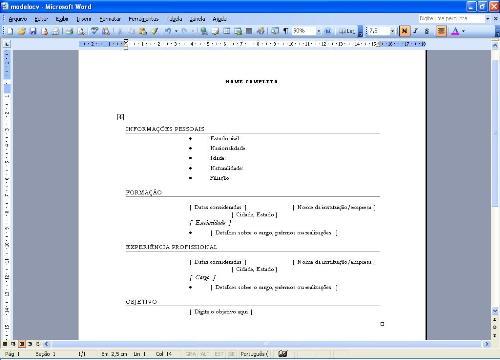 Modelos de currículo em branco para preencherModelos de